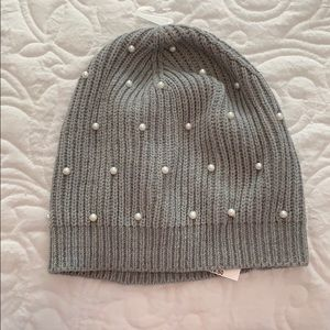 NWT J.Crew Gray Pearl accent beanie hat